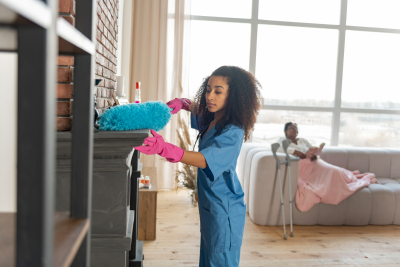 caregiver cleaning